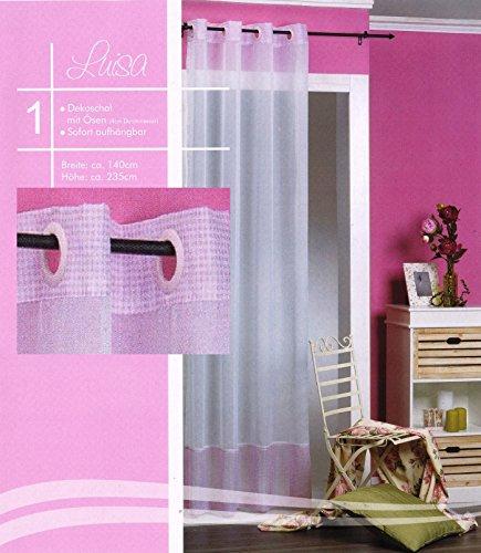 Ösenschal Vichy Karo rosa Gardine Voile weiß Vorhang transparent Mädchen Dekoschal Typ463