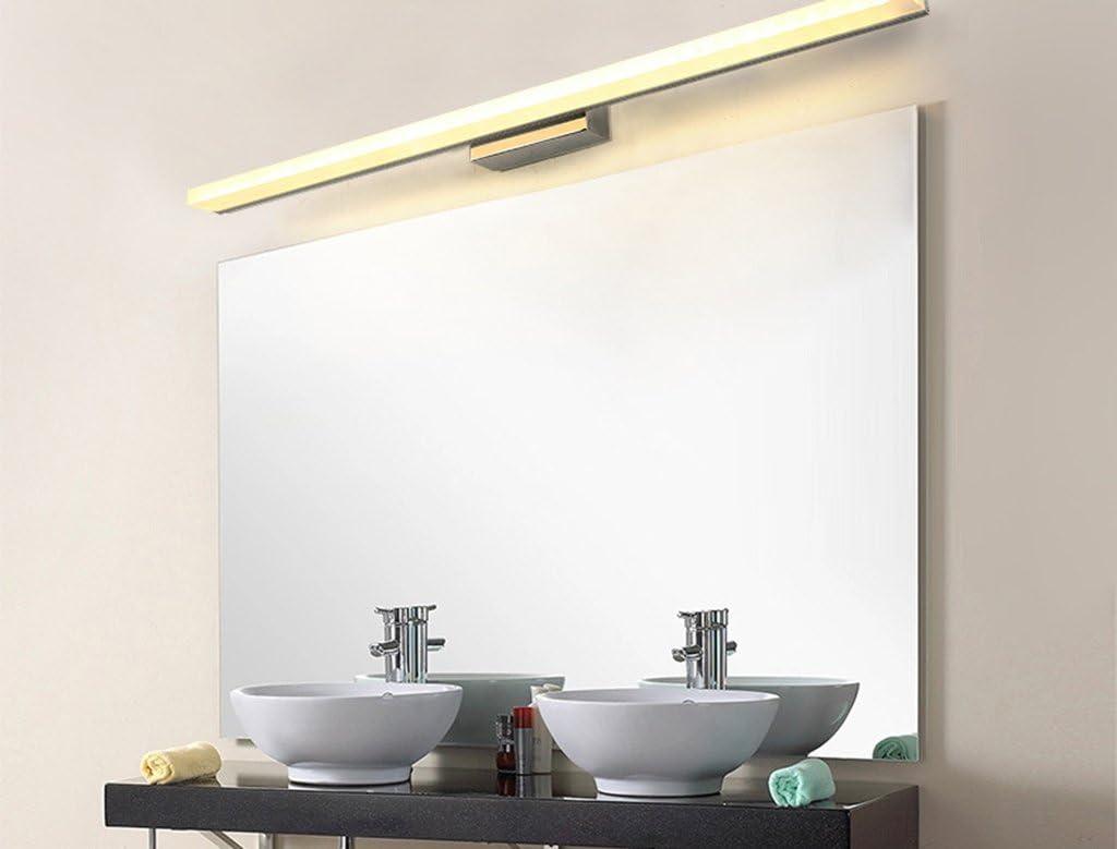 & Wandleuchten Wasserdicht Antifog Led Spiegelleuchte Einfache Moderne Spiegelleuchte Europäische Wandleuchte Bad Bad Schrank Spiegel Make-up-Lampen (Farbe : Weißes Licht-80cm) Warmes Licht-80cm