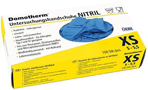Domotherm Nitril Untersuchungshandschuhe XS (Größe 5 - 5,5), 100 Stück Hygiene Handschuhe