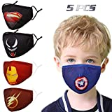 Washable Reusable Kids Face Mask, Cloth Cotton Cute Designer Breathable Facemask mascarillas niños, Design Fashion Fabric Covering with Adjustable Ear Loops for Girl Boy Children Gift