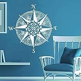 wopiaol Mandala brújula Pared calcomanía navegación Barco Vinilo Pegatina calcomanía brújula náutica mar Rosa Sala de Estar Dormitorio decoración
