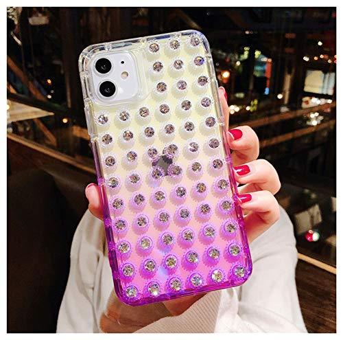 QfireQ Funda Diamantes Brillo para iPhone 11 Pro MAX / 11 Pro / 11 con Cuerpo Completo 3D Funda Protección de Gradiente Diamantes Imitación Cristal Brillante, Púrpura,XS MAX