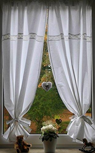 Leinenshop24 Landhaus Gardinen Set Weiß/Spitze 2 St + 2 Bindebänder 140x80cm/Gesamt 170cm breit 100% Baumwolle Tina
