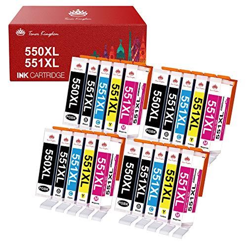 Toner Kingdom 550XL 551XL Cartuchos de Tinta compatibles para Canon PGI 550XL CLI 551XL para Canon PIXMA IP7250 IX6850 MG6450 MG5650 MX725 MG5450 MG5550 IP8750 MX925 MG6650 MX920 (20-Paquete)
