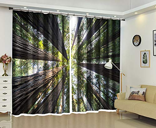 AmDxD 2 Panels Polyester Curtain Fabric, Curtains for Bedroom Forest Tree Pattern Drapes Curtains, Machine Washable, Green Gray, 84 W x 54 H Inches