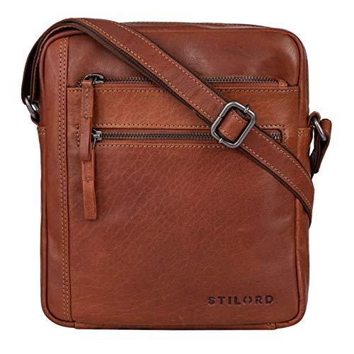 STILORD 'Garcia' Kleine Umhängetasche Echtleder Braun Vintage Messenger Bag Ledertasche für 9,7 Zoll iPad und 10,1 Zoll Tablet Moderne Schultertasche aus Leder, Farbe:Cannes - braun