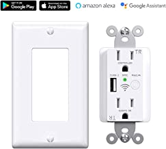 Tuya APP Smart WiFi USB Charger Outlet, 5V 2.4A USB In-Wall Socket, Amazon Alexa & Google Home Supported, ETL&FCC Listed White