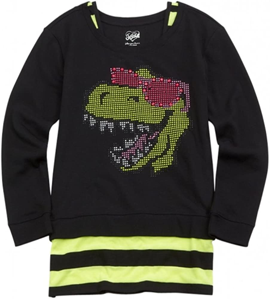 Justice Girls Studded Dino Pullover Sweater