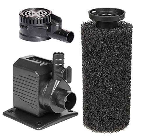 Beckett Corporation DP250/DP290 250 GPH Submersible Small Sponge Filter Pump for Indoor/Outdoor Ponds, Fountains, Water Gardens, Black