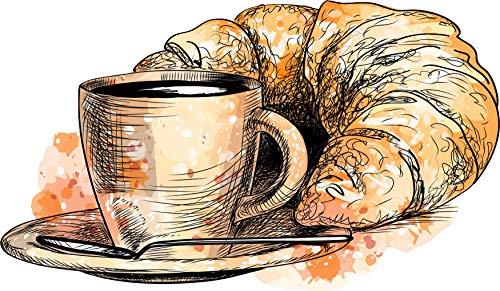 EmmiJules Wandtattoo Kaffee und Croissant zum Frühstück (25cm x 15cm) - Made in Germany - Küche Esszimmer Cafe Küchentattoo Deko Wandaufkleber Wandsticker