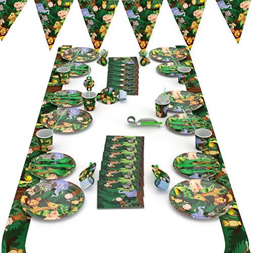 Dätenky Juego de decoración para fiestas de cumpleaños, 66 piezas, diseño de animales de la selva