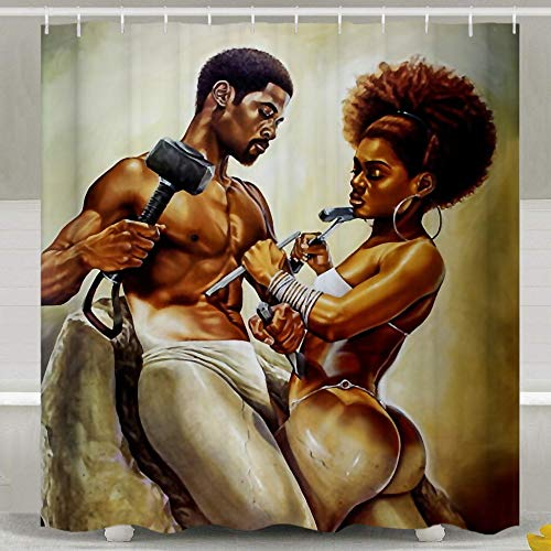 """SARA NELL Shower Curtain Liner African Couple Lover Sculpture Art Oil Painting Bath Curtains 72"""" X 72"""" Waterproof Polyester Fabric Bathroom Decor Set with 12 Hooks"""