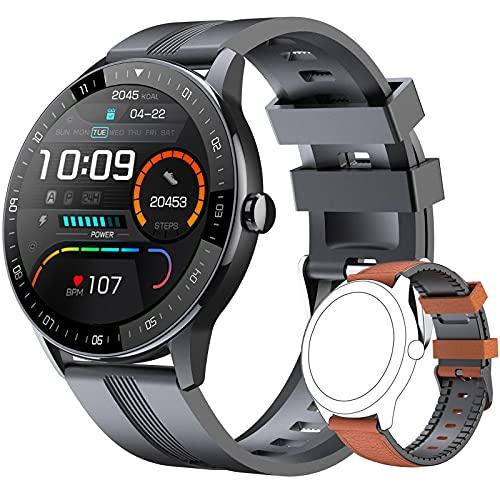EIGIIS Smartwatch, Reloj Inteligente Hombre Pantalla de táctil Impermeable IP67, Pulsera de Actividad Inteligente con 24 Deportes, Pulsómetro, Sueño, GPS, Caloría, Smart Watch por iOS Android (Negro)