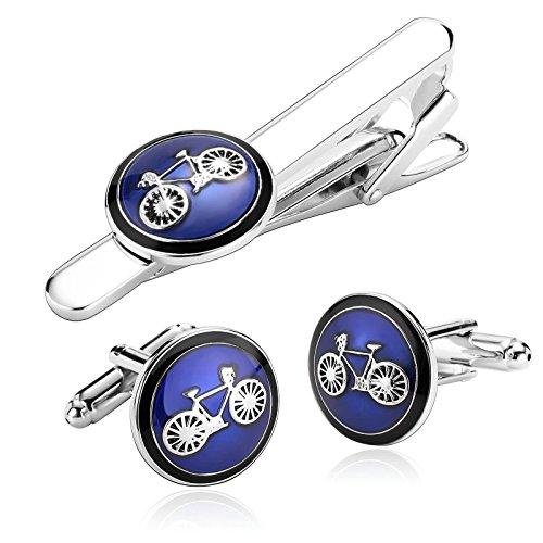 AnazoZ Alfiler Hombre Alfiler y Gemelos Bicicleta Alfiler y Gemelos Plata Azul Alfiler de Corbata y Gemelos