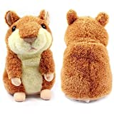 DTDR Talking Hamster Repeats What You Say Educational Talking Toy Mimicry Pet Repeating Hamster Plush Animal Toy Electronic Toy Gift for Kids Children (Brown)