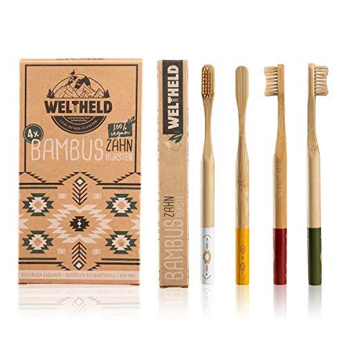 Weltheld Bambuszahnbürsten | mittel | 4er Pack | vegan | Holzzahnbürste | BPA frei