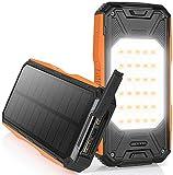 AMZGO Cargador Solar Móvil 26800mAh Power Bank Batería Externa Banco de Energía Portátil,18W PD 2 Puertos de Salida 2 LED Linterna USB Cargador Rápido de Teléfono Celular para Viajes, Camping, etc