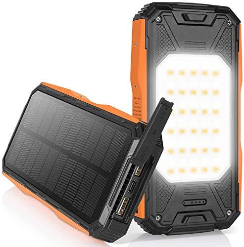NEXGADGET Solar Powerbank 26800mAh, Externer Akku mit 60 LED Lampen / 2 Taschenlampen/ 2 USB A Ausgänge/ 1 USB C Ausgänge/PD 18W Schnellladung, Solar Ladegerät für Tablett/Handy/Camping