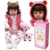 ZIYIUI Reborn Fille Toddler Dolls Silicone Bébé Reborn Poupée Réaliste Nouveau-Née Cheveux Longs Poupons Enfants Jouets 20 Pouce