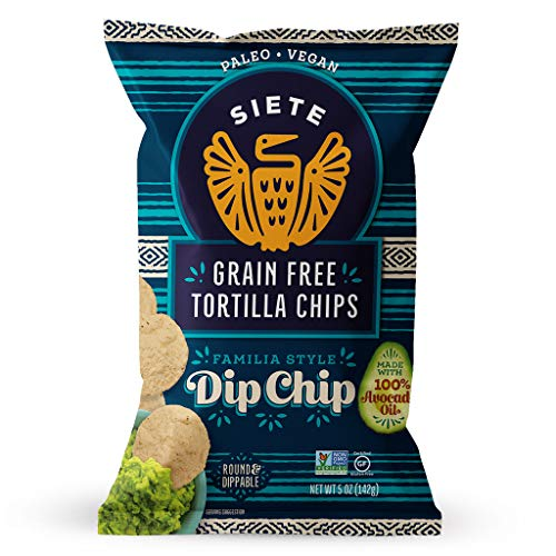 Siete Grain Free Tortilla Chips, Whole30 Approved, Gluten Free, Paleo, Vegan, Non-GMO, Dip Chips, 5oz. (Pack of 6)