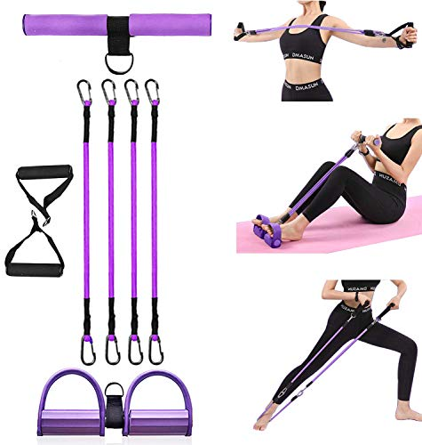 Pedal Resistance Band Multi-Function Pedal Resistance Band for Women 4 Tube Yoga Elastic Pull Rope Fitness Equipment Bodybuilding Expander for Abdomen Waist Arm Leg Stretching Slimming Training