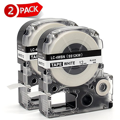 "MARKLIFE Label Tape Compatible Epson Labelworks LC-4WBN9 Epson Label Refills Replacement for LW-300 LW-400 LW-500 LW-600P LW-700, Black on White 1/2"" W x 26.2ft L 2 Packs"