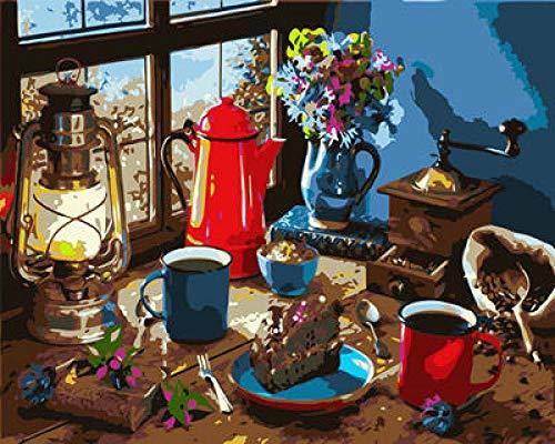 HEIMEN DIY Pintura al óleo Pintura para Pintar por números Pint por Número de Kits for Adultos Mayores Avanzada Niños Joven 16x20 Inch --WM-2703-Luz para hervidor de Agua de Mesa con Ventana