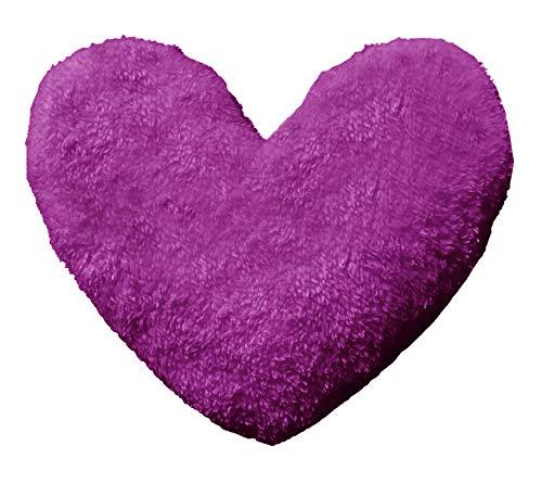click2style New In Cuddly 30cm Teddy Fleece Heart Shape Fluffy Filled Cushions Home Decor (Plum)