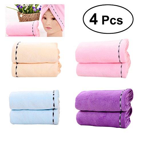 Frcolor Cheveux Séchage Serviettes pour femme, 4 pièces en microfibre à séchage rapide Cheveux Cap Ong Cheveux Wrap Serviette pour cheveux