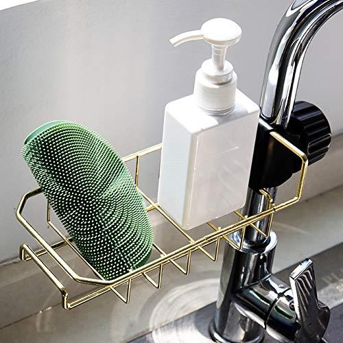 Delleu Wasserhahn Schwammhalter,Spüle Organizer Abtropfgestell zum Abwaschen,Edelstahl Wasserhahn Lagerregal hängenden Seifenregal Halter für Badezimmer Küche