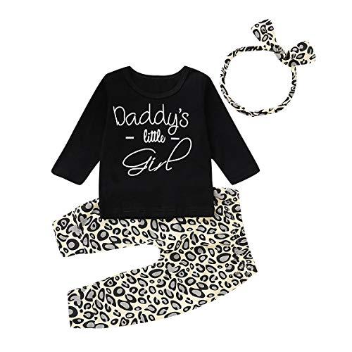 Kleinkind Baby Mädchen Outfits Set 3 Stück Langarm Brief T Shirt Lange Hose Stirnband Baumwolle Kleidung Set für 0-24 Monate (0-6 Monate, Schwarz)