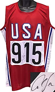 Carl Lewis signed Red TB Team USA Custom Stitched Pro Style Track & Field #915 Jersey XL- Hologram - JSA Certified