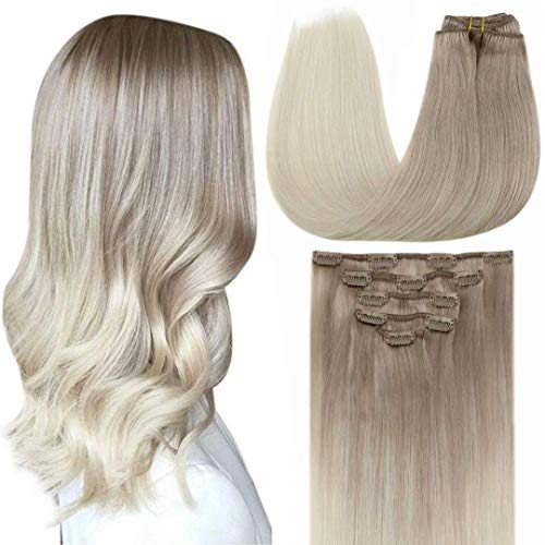 LaaVoo Extensions Echthaar Clip in Blond 5Pcs 70g Extensions Clip Blond Aschblond Balayage Platinblond Ombre Double Weft Clips Haare Extensions Full Head Seamless Clip Hair 45cm