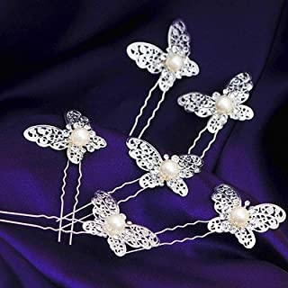 Olici Bridal Wedding/Prom Hair Pins/Headdress Accessories/Party/Girls The Butterfly Pearl Pin Head Flowers