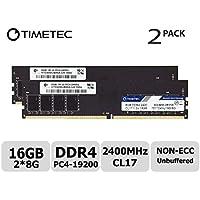 Timetec Hynix IC DDR4 2400MHz PC4-19200 Non ECC Unbuffered 1.2V CL17 2Rx8 Dual Rank 288 Pin UDIMM Desktop PC Computer Memory Ram Module Upgrade (16GB(8GBx2)(Single Rank))