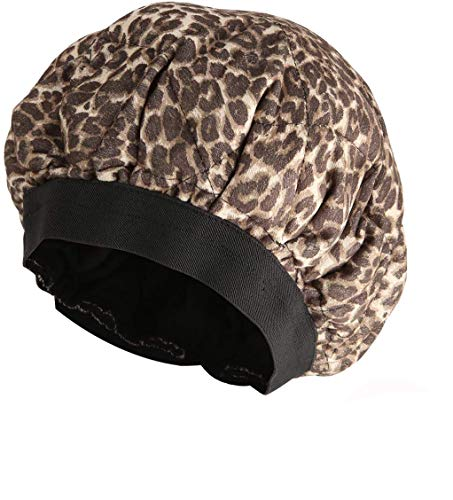 HELOU Professional Cordless Deep Conditioning Hair Heat Cap,Microwavable Heat Hair Care Cap For Hair Therapy,Flaxseed Interior Retention Thermal Hair Treatment Caps,Leopard