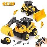 BeebeeRun 2 en 1 Jouet Voiture Enfant,RC Camion,Excavatrice et Bulldozer,Assemblage Vehicules Camion Jouet Voiture Educatif pour Enfants Garçons Filles