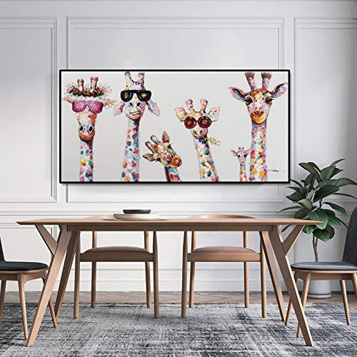 ZMFBHFBH Wandkunst Dekor Nette Cartoon Giraffen Bilder Mit Rahmen Leinwand Malerei Poster Print Nordic Dekor 50x100cm Mit Rahmen