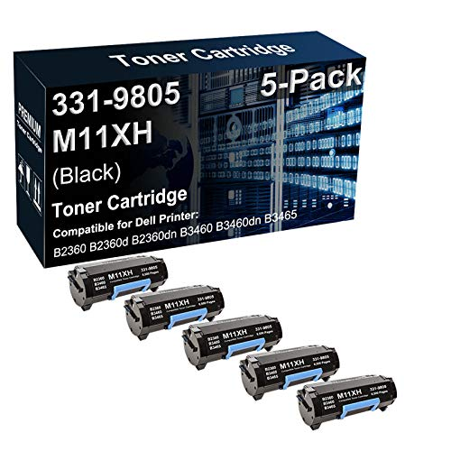 5-Pack Compatible High Capacity 331-9805 M11XH C3NTP Laser Printer Toner Cartridge Used for Dell B2360 B3460 B3465 Printer (Black)