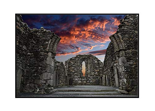 Glendalough, Ireland - Famous Ancient Monastic Cemetery During a Vibrant Sunset 9019130 (24x16 Framed Gallery Wrapped Stretched Canvas)