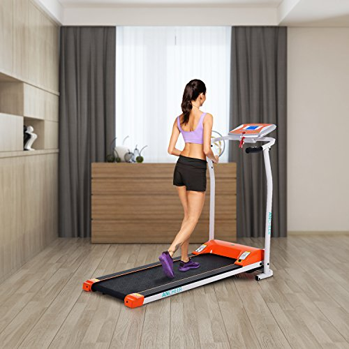 ANCHEER Folding Electric Treadmill, 502 Easy Assembly Motorized Running Machine with Rolling Wheels...