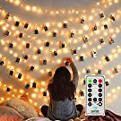 MZD8391 Dimmable 50 Photo Clips String Lights/Holder with Remote Control, Battery Powered Indoor Fairy String Lights for Hanging Photos Pictures Cards Memos, Gift Photo Clip Holder (Warm White)