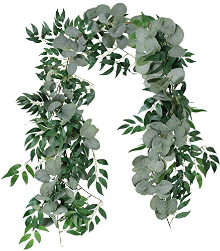 Cekene 2 Pcs 6.5 Ft Artificial Eucalyptus Garland with Willow Leaves Fake Hanging Greenery Vines Table Runner Garland for Wedding Backdrop Arch Wall Decor (2pcs, eucalyptus blend willow)