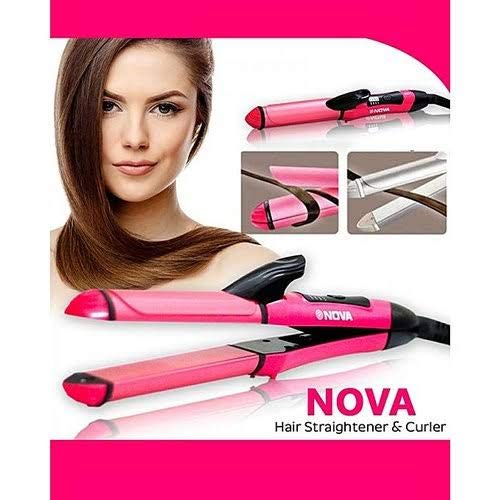 Nova DMS INDIA 2 in 1 Mini Travel Curling Straightening Iron Hair Curler Straightener Ceramic Hair Curlers Portable Hair Styling Flat Iron(Pink)