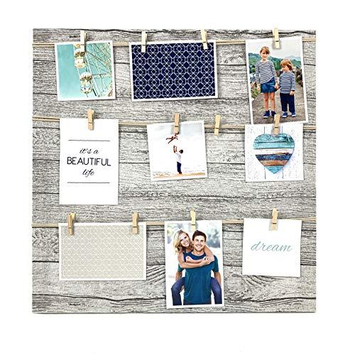 TH Portafotos múltiple Marcos de Fotos Variado con Cuerdas y Pinzas de Madera en Fondo de Tela. (50x50Cm)