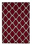 Think Rugs Elementos Tejido a Mano 100% Alfombra de Lana diseño de Onda Elegante Juego de Centro tamaños, Lana, Rojo, 120 x 170 cm
