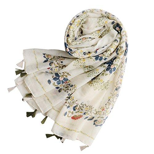 XdiseD9Xsmao vrouwen kwast sjaal mode lange bloem print voile sjaal strandlaken multi