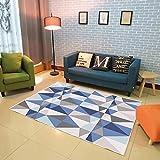 SXSHYUAR Confortable Tapis de Style Moderne Accessoires pour la Maison en Gris géométrique, Bleu Marine - Motif de Diamants dans...