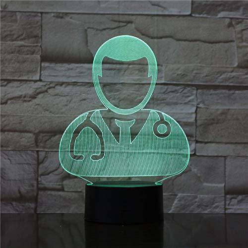 Wfmhra The Doctor and Nurse Lámpara de luz LED 3D Luz de Noche USB con batería Lámpara de luz Nocturna LED Efecto de luz Visual Regalo Encantador