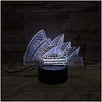 3Dビジョンステレオランプシドニーオペラハウス16色変更タッチデスクテーブルランプクリエイティブスモールナイトライトLED3Dライト
